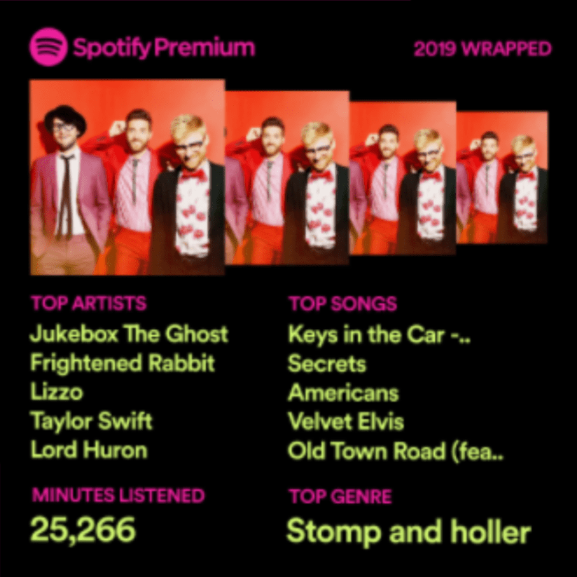 My Year in Spotify. 25,266 minutes of listening. Top artists: Jukebox the Ghost, Frightened Rabbit, Taylor Swift, and Lizzo. Notable in the top songs: Old Town Road.
