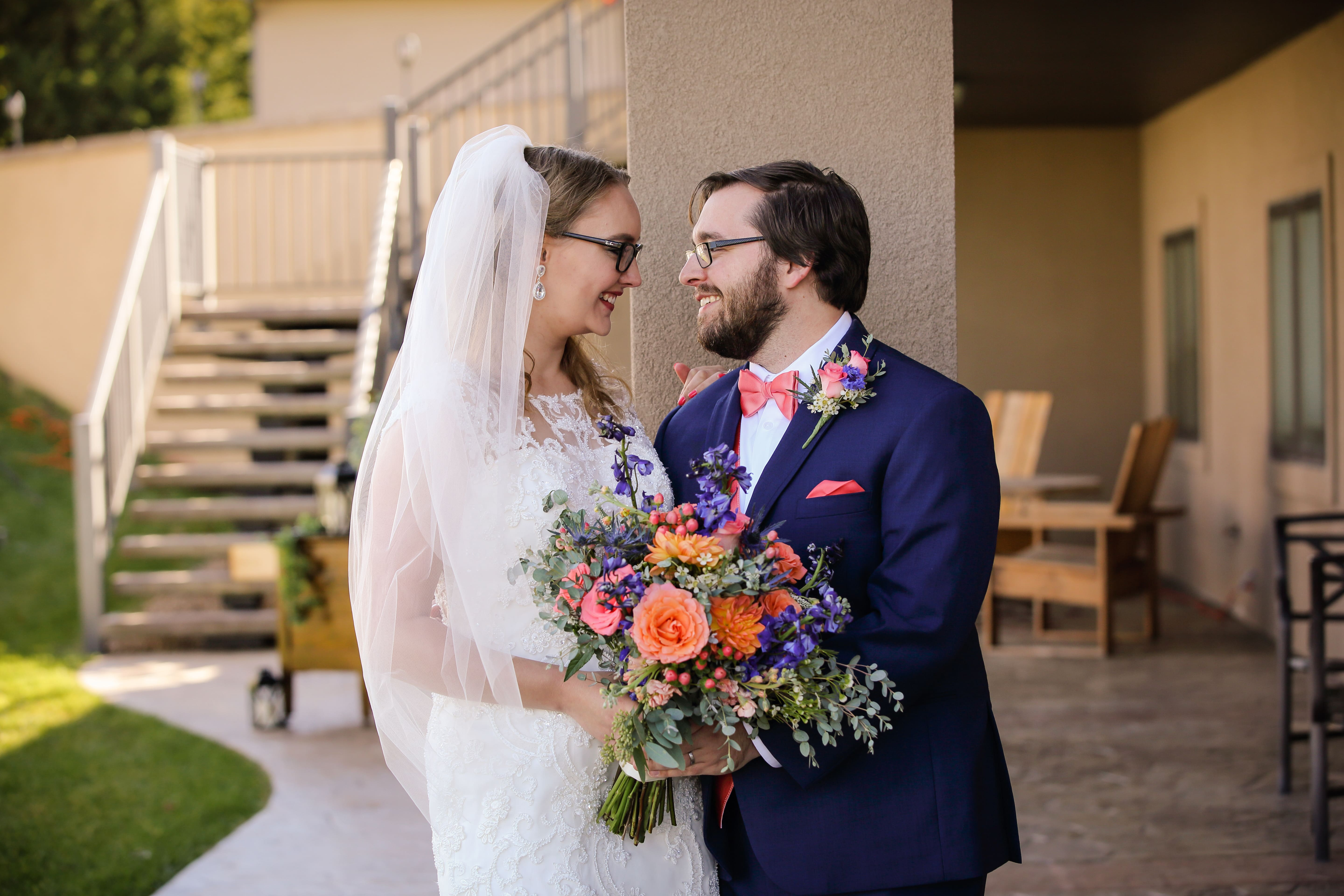 Cassey and Josh in their wedding finery
